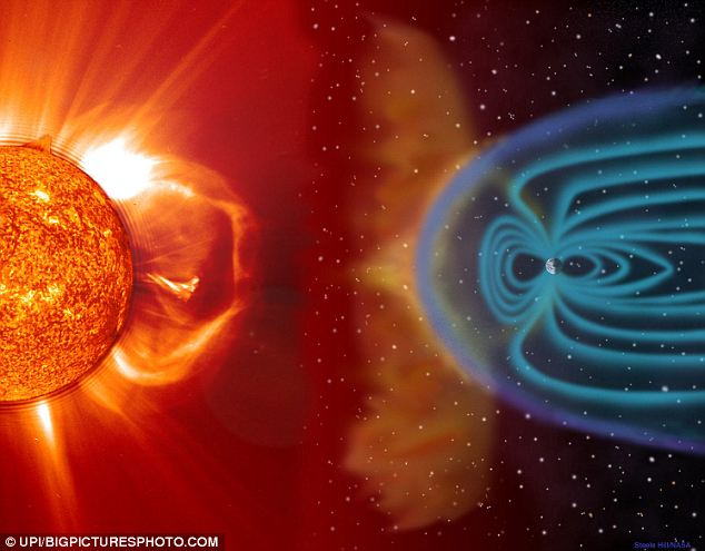 Lashing out: Solar wind shapes the Earth's magnetosphere and magnetic storms are illustrated here as approaching Earth