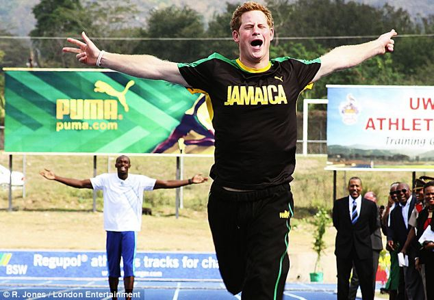 Prince Harry leaves the worlds fastest man in the dust as he makes an appearance with Usain Bolt