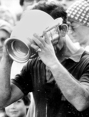 Prince Charles Drinks Champagne From Cowdray Challenge Cup in 1987
