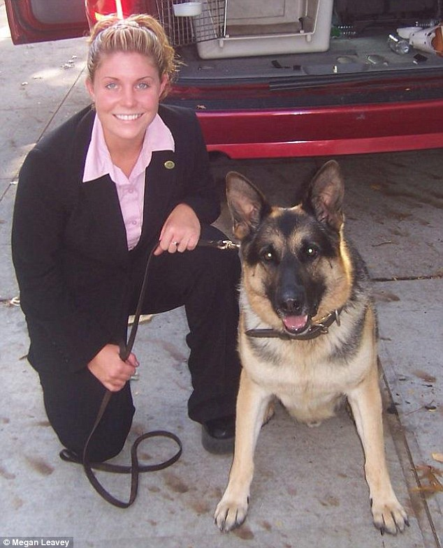 Together at last: Following a high-profile campaign Leavey has been to can adopt her canine pal
