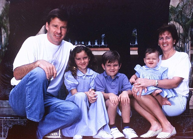 Family man: Faldo with his now grown-up children Natalie, Matthew and Georgia, and ex-wife Gill