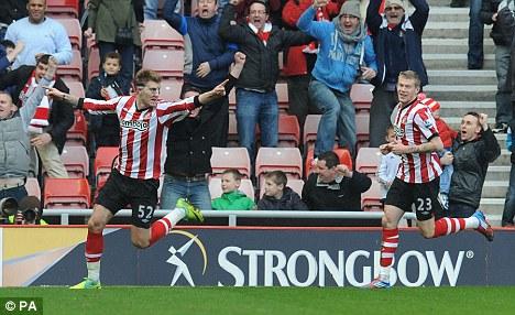 Decisive: Bendtner's strike gave Sunderland the victory