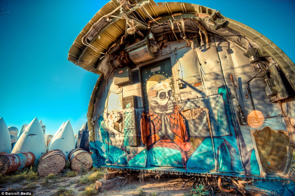 Brought back to life: Artist Saner has decorated part of a disused war plane to give it new life