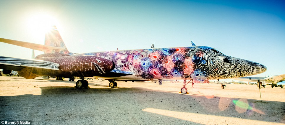 Giving art wings: A painted Lockheed Jetstar called 'Spy Tigers' by Andrew Schoultz, painted in the Arizona desert