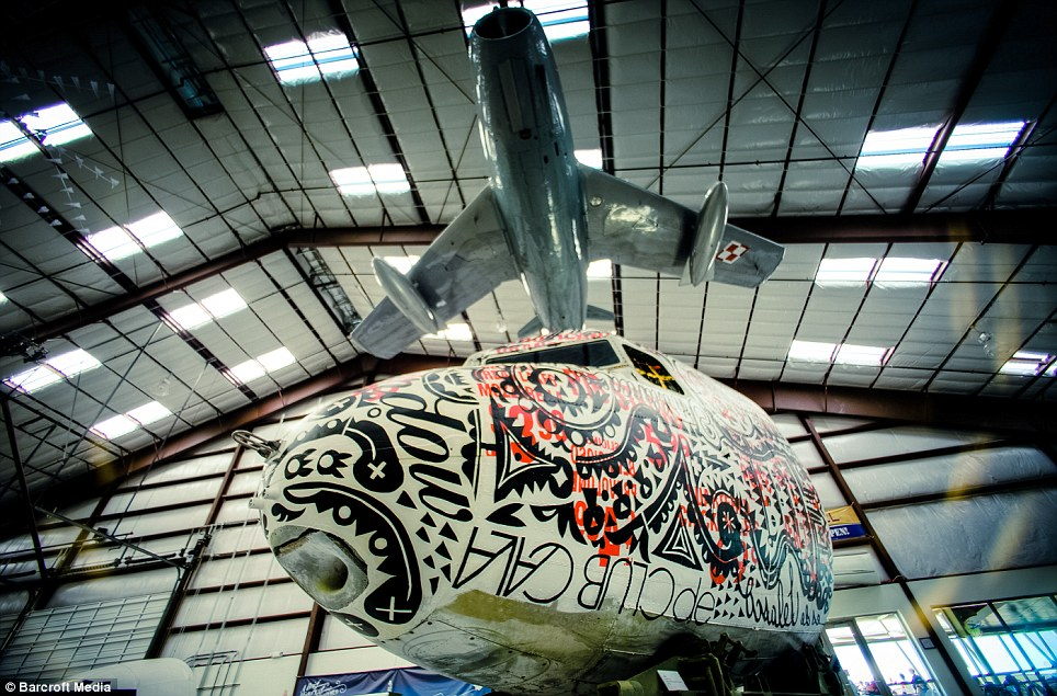 Plane tastes: A painted Douglas DC-3 Nose Cone called 'Jerky Jermal' by artist 'Bast' brings an old plane back to life