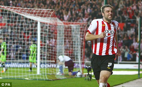 Red hot: Lambert was rewarded for his remarkable exploits at Southampton