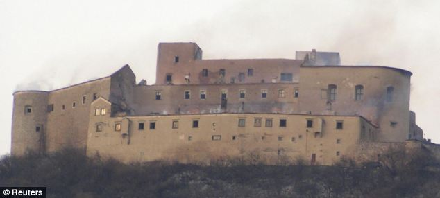 Inferno: The roof of the 14th Century castle was totally destroyed by the blaze