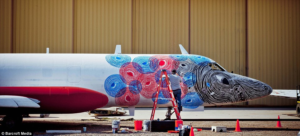 Huge canvases: Some of the disused Boneyard planes took a few days to paint while others took weeks