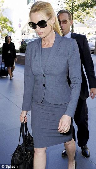 Fighting her corner: Nicollette Sheridan, who played Edie Britt, arriving at an LA court last week