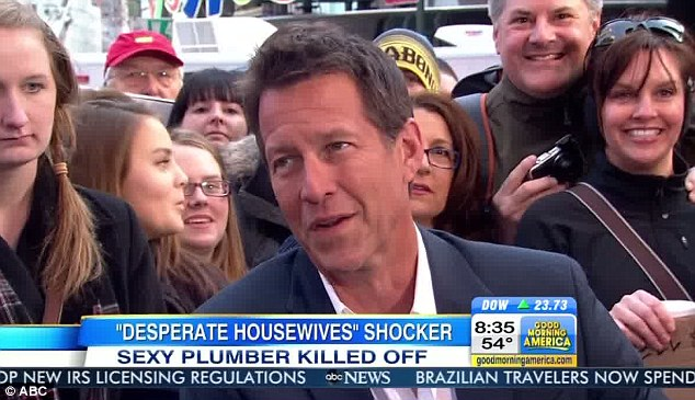 Speaking out: James Denton, who played plumber Mike Delfino, appeared on Good Morning America today to talk about his dramatic exit in last night's show