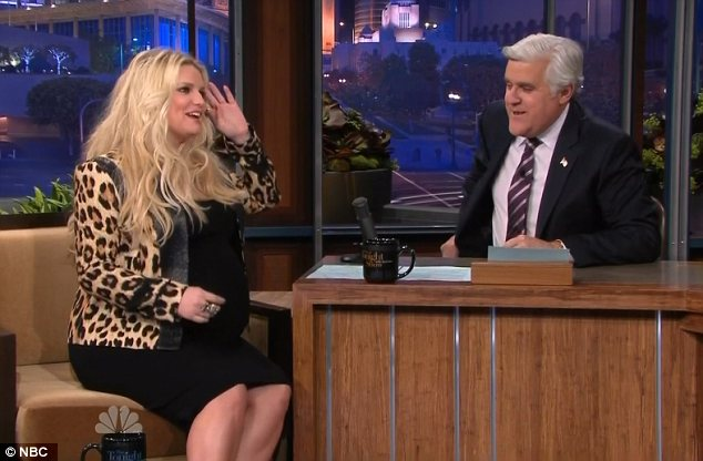 Big baby bump: Jessica Simpson joked about her size and said: 'No it's not twins' while appearing on the Jay Leno show last night