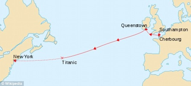 Doomed ship: This map shows the path of the Titanic when it sank and fell to the ocean floor on its way to New York