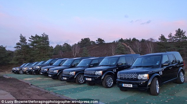 Fleeting moment: A collection of identical Land Rovers no doubt to be used in a stunt of some kind