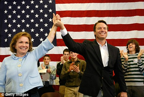 Accused: Edwards, pictured with his wife Elizabeth during his 2008 campaign, has been accused of using campaign funds to cover up his affair