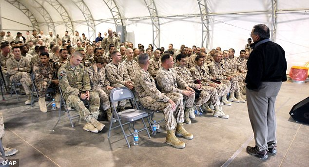 Meeting: Mr Panetta addresses coalition troops at Camp Bastion soon after the apparent attack