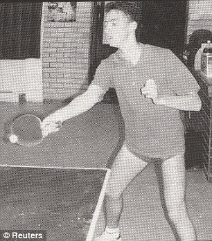 Snubbed? Former Goldman Sachs banker Greg Smith, pictured playing table tennis in 1996, quit his £3m-a-year job because he lost out on promotion, sources claimed today