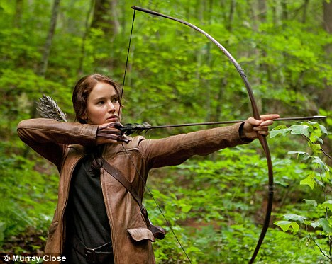 On target: Jennifer plays the central character of Katniss Everdeen in the film