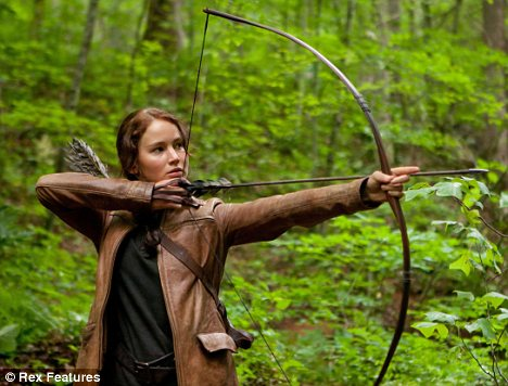 In action: Jennifer playing her big role in Hunger Games