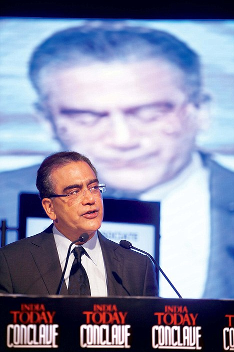 India Today Group Chairman and Editor-in-Chief Aroon Purie delivering his welcome address on Friday