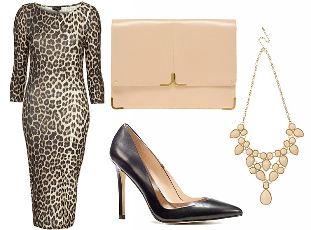 Wild thing: Midi-dress, £32, topshop.com. Necklace, £12, republic.co.uk. Clutch bag, £60, asos.com. Court shoes, £155, Russell & Bromley, 020 7629 6903