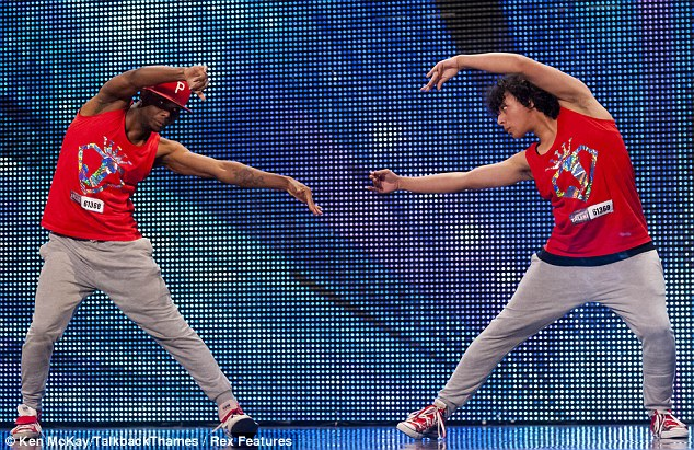 Double act: Dancing duo Juxtapose gave it their all during the Cardiff auditions earlier this year