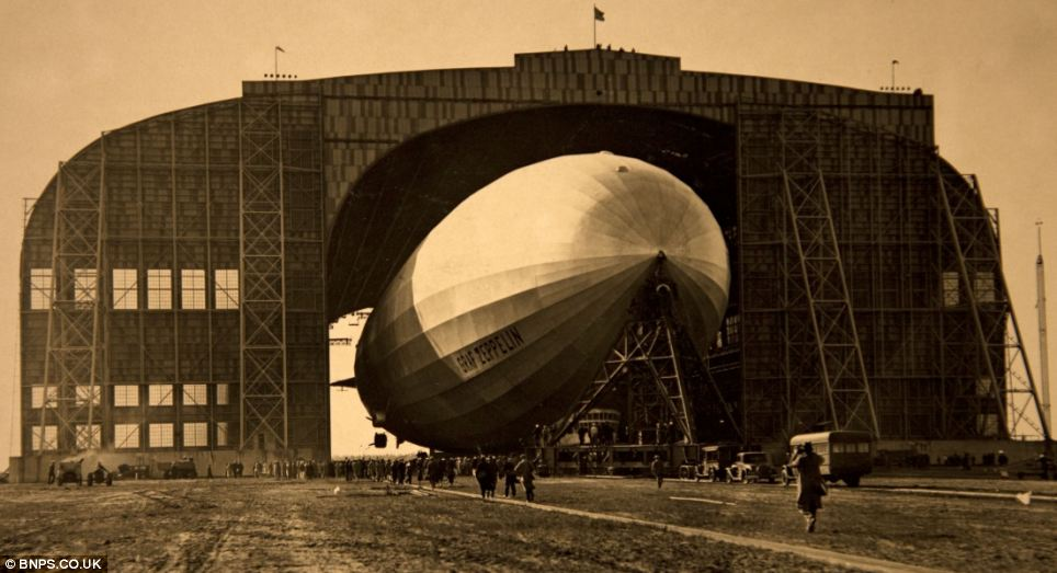 High flier: The 75-year-old hoped to offer the public rides on airships like the ones in his photos at his museum