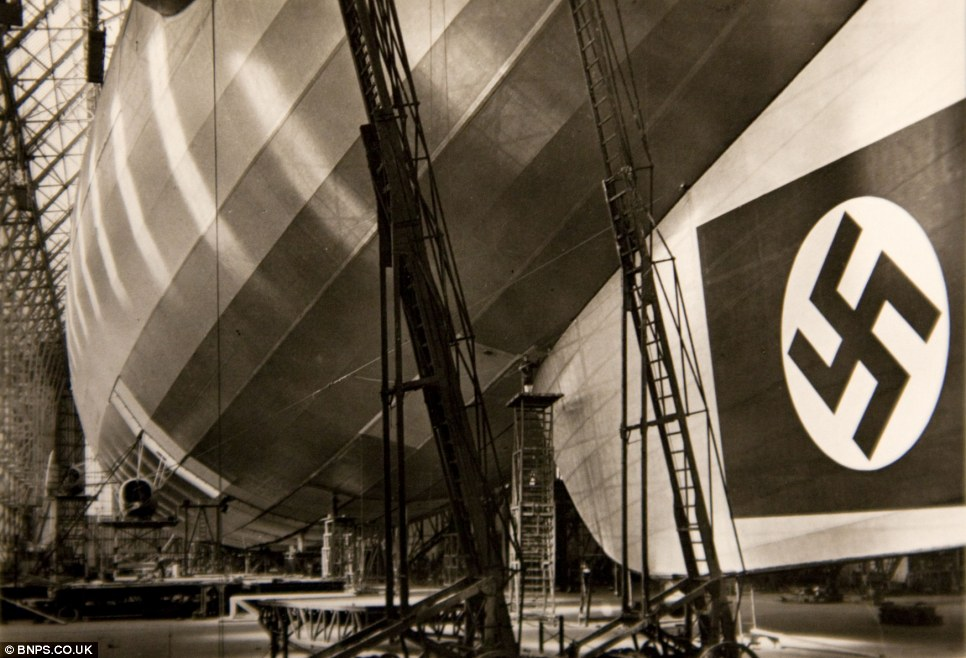 One of Mr Kirch's photos showing a huge swastika on a German airship, which were used as propaganda tools