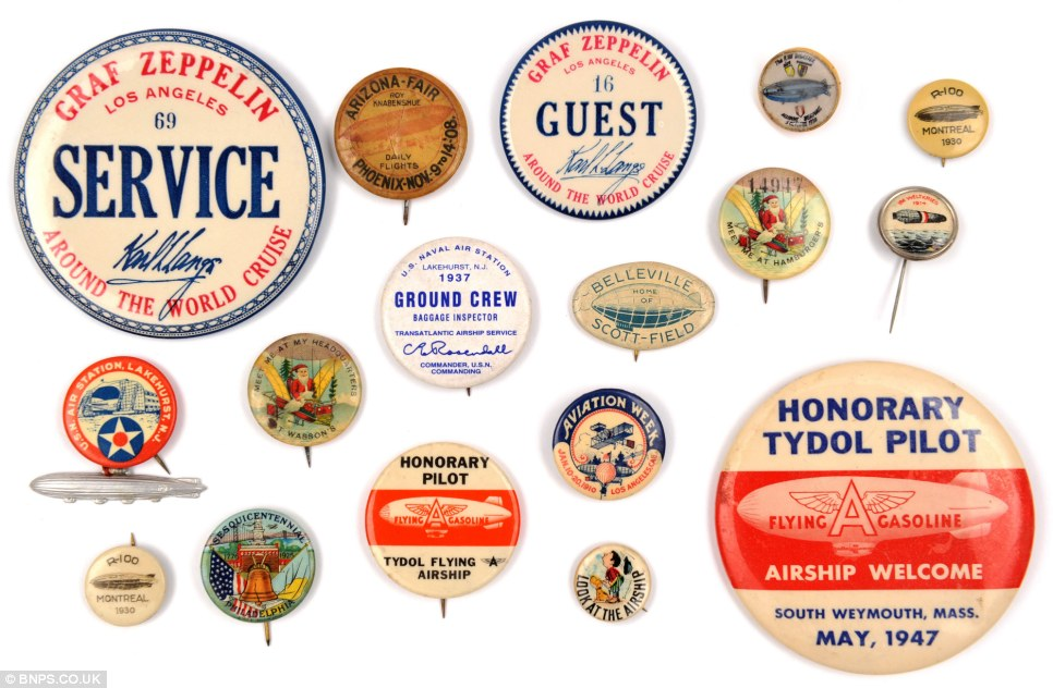 Some of the buttons and badges from Zeppelin tours across the US collected by Mr Kirch