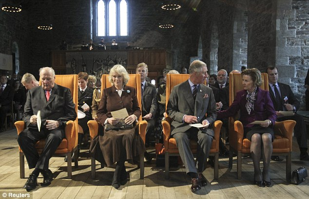 King Harald, Camilla, Prince Charles and Queen Sonja attend a concert in Haakonshall, a medieval hall Charles last visited in 1969 with the Queen