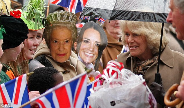 Camilla and Charles speak to well-wishers. The royal tour of Scandinavia is part of the Queen's Diamond Jubilee celebrations