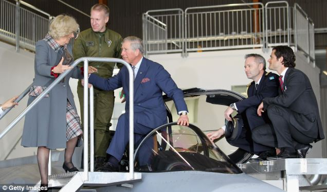 Prince Charles toured the jet along with Camilla and Sweden's Prince Carl Philip (right)