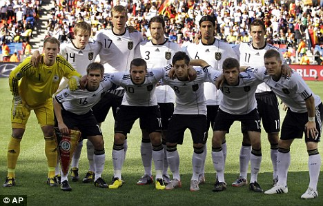 'Cheap exercise': There are some who say the German players, pictured at the World Cup in 2010, should not visit Auschwitz