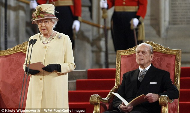 Landmark location: Prince Philip looks on as the Queen delivers a speech in Westminster Hall, next to the tower