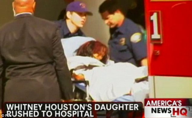 Devastated: The day after her mother was found dead Bobbi Kristina was rushed to the hospital after suffering a breakdown