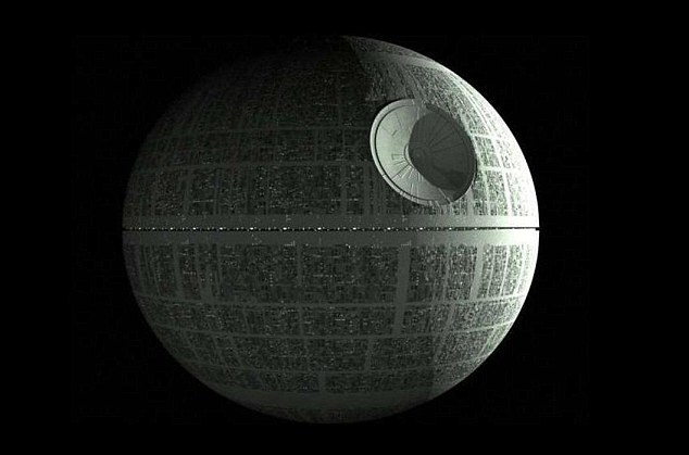 The actual Death Star from the Star Wars film that was the inspiration behind the Danish TV advert