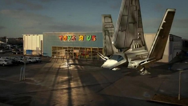 Cuddly toys: The space shuttle lands in the car park of a Toys 'R' Us car park. Perhaps Mr Vader wanted to do a spot of shopping for the latest action figures