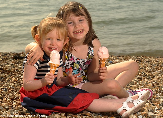 Melting: Sisters, Lilly Heath, 3 and Hollie Skinner, 7 enjoy icecreams in the sun on the beach in Southsea, Hampshire, yesterday, as temperatures soared