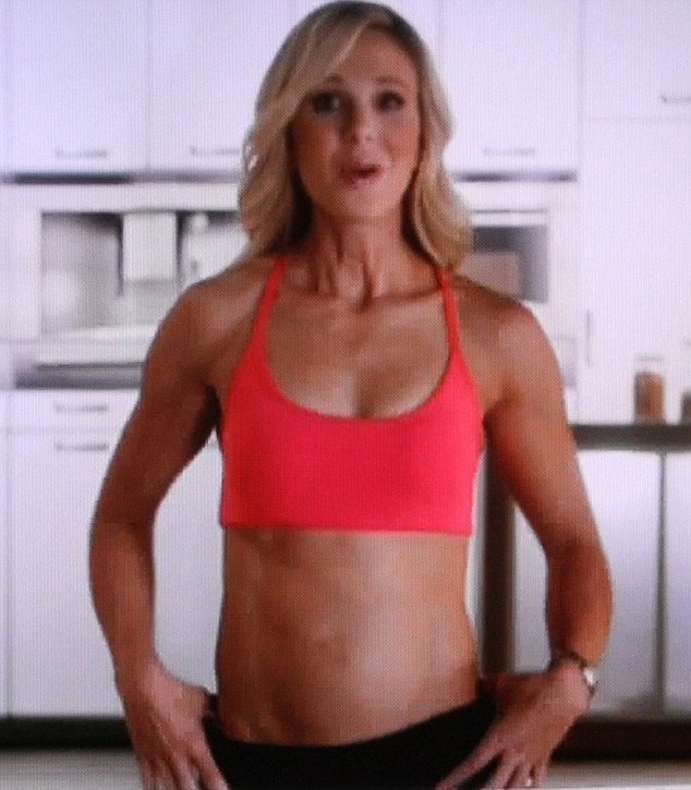 Curious: Elisabeth Hasselbeck's belly button appears to be missing in the latest advert for her Pro-form exercise machine