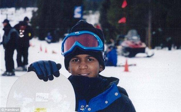 Too young: Trayvon Martin, seen here in a family photo from a ski trip, was simply holding Skittles when he was shot