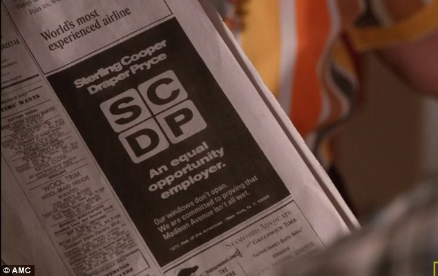 Advert: Joan gets worried when she sees an advert for SCDP - but it is simply a joke for a rival firm who were subject to a civil rights protest