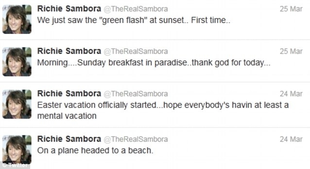 Thrilled: Sambora was clearly equally thrilled about his 'early Easter vacation' with Denise and her girls