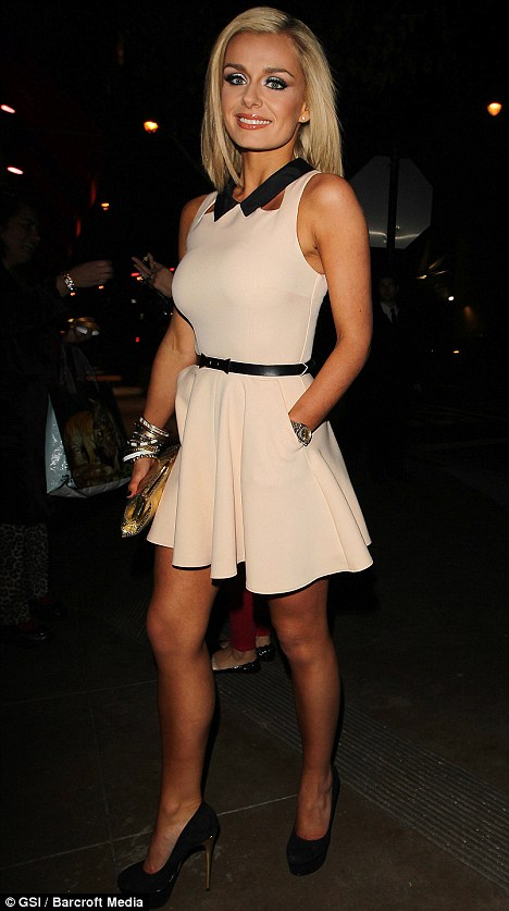 Flying the flag: Katherine Jenkins outshined the Hollywood crowd at Mixology 101 last night in a simple playsuit from Topshop
