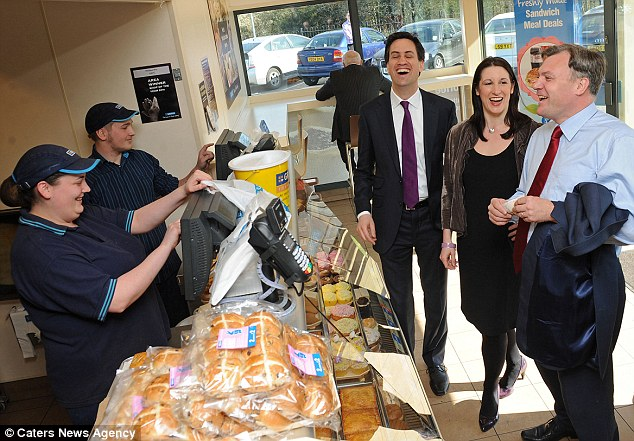 Sausage drole: Ed Miliband shares a joke with Ed Balls and Rachel Reeves as they paid a visit to a Greggs outlet today