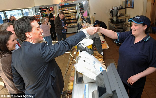 Solidarity: The Labour leader shakes hands with staff at the branch of Greggs in Redditch, Worcestershire