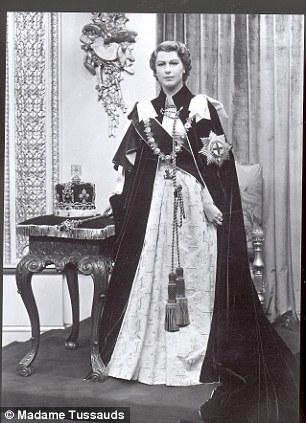 Waxworks Statues & Sculptures of Her Majesty Queen Elizabeth II at Madame Tussaud's in London, 1956