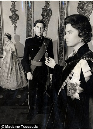 Prince Charles and Queen Elizabeth II waxworks at Madame Tussauds in 1969