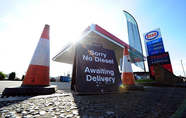 Run dry: Even though a strike date hasn't been announced, the threat of one has been enough to drastically deplete stocks, such as is the case with this station in North Shields