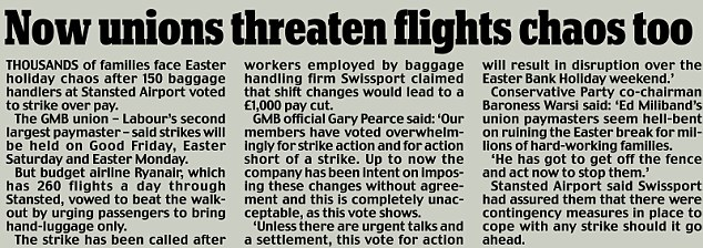 Now unions threaten flights chaos too