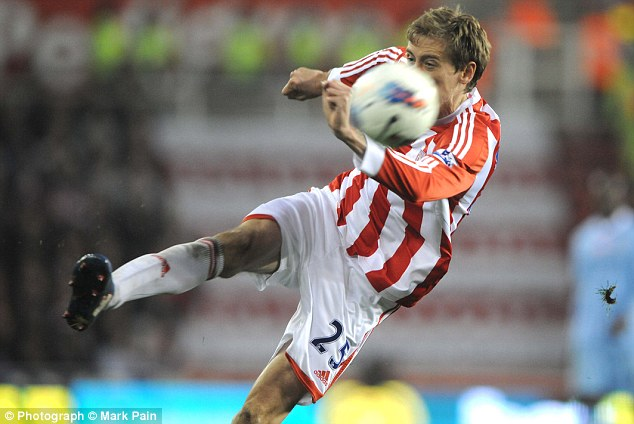 That wonder strike: March 24, 2012. Stoke 1 Man City 1, Crouch 59 mins. Crouch takes one cushioned touch, then volleys past Joe Hart from 30 yards.
