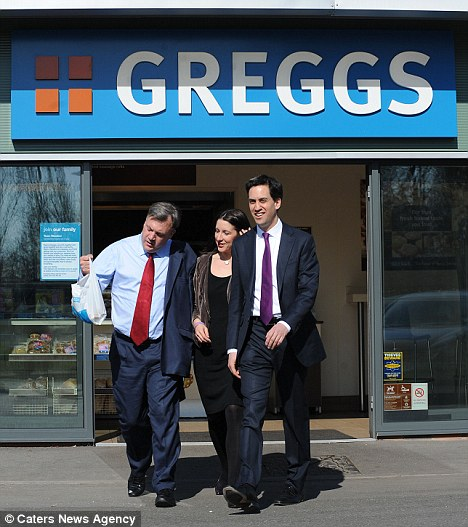 Piling on the pressure: Ed Miliband, with Ed Balls and Rachel Reeves, pictured mid-week trying to heat up the debate about Tory pasty tax by publicly backing Greggs